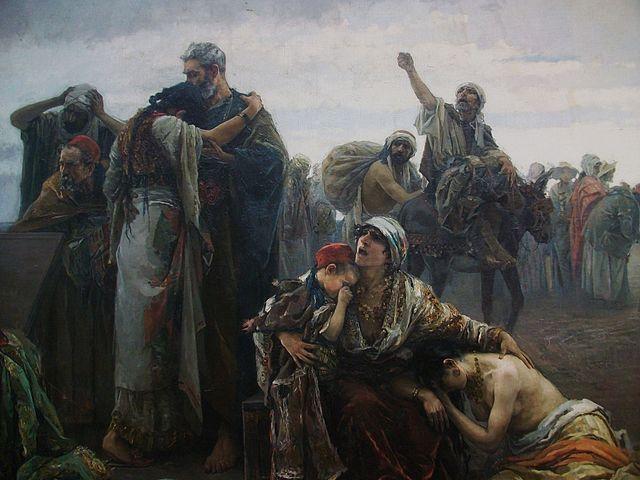 Escena de la expulsión de los moriscos